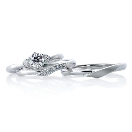 カフェリングの結婚指輪と婚約指輪のセット シェリ