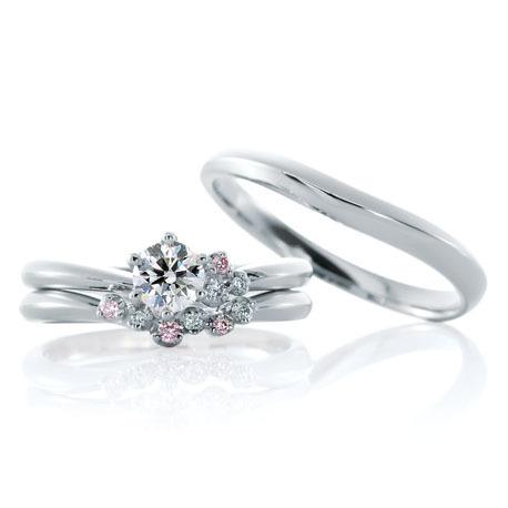カフェリングの結婚指輪と婚約指輪のセットリング/ジャルダンドゥロゼ
